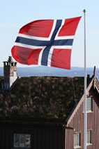 Norwegian flag flying in Oslo, Norway